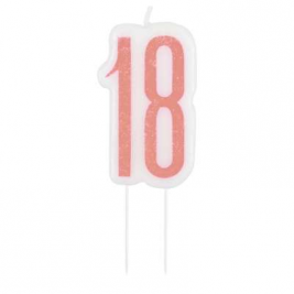 Birthday Glitz Rose Gold Number Candle-18