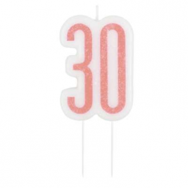 Birthday Glitz Rose Gold Number Candle-30