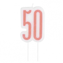 Birthday Glitz Rose Gold Number Candle-50