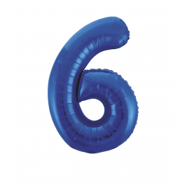 Blue Foil Gaint Helium Balloon Number 6 - 34
