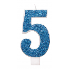 Blue Glitz Glitter Number 5 Birthday Candle