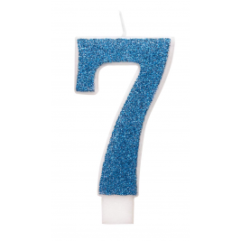 Blue Glitz Glitter Number 7 Birthday Candle