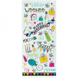 DOODLE BIRTHDAY Cello Bag Party Bags - Pack of 20