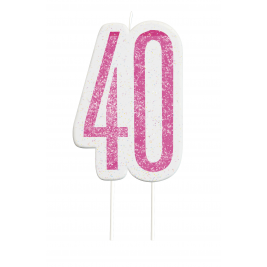 Giltter 40th BIRTHDAY Candles Set