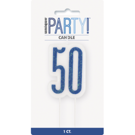 Giltter 50th BIRTHDAY Candles Set
