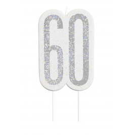 Giltter 60th BIRTHDAY Candles Set