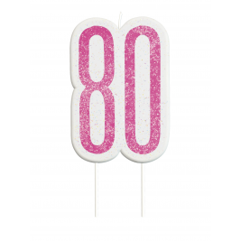 Giltter 80th BIRTHDAY Candles Set