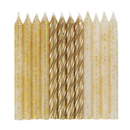 Glitter & Gold Spiral Candles Pack of 24