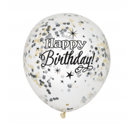 Glittering Birthday FOIL CLEAR BALLOONS with confetti 12