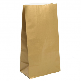 Gold Metallic  Paper Party Bags (12pk)