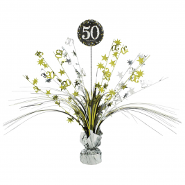 Gold Sparkling Celebration 50th Centrepiece Spray 33cm