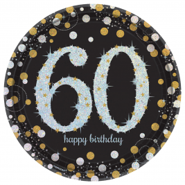 Gold Sparkling Celebration 60th Prismatic Paper Plates  26cm