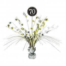 Gold Sparkling Celebration 70th Centrepiece Spray 33cm