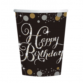 Gold Sparkling Celebration Happy Birthday Paper Cups 266ml - Pack of 8