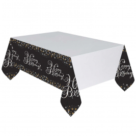 Gold Sparkling Celebration Happy Birthday Plastic Table Cover 1.37 m x 2 m