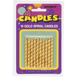 Gold Spiral Birthday Candles (10pk)
