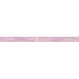 Happy 100TH Birthday Glitz Pink & Silver Banner