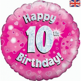 Happy 10th Birthday Pink Holographic Foil Balloon