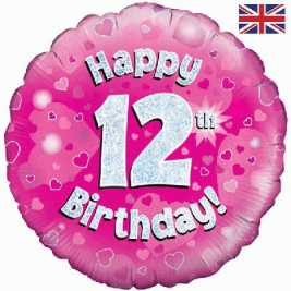 Happy 12th Birthday Pink Holographic Foil Balloon