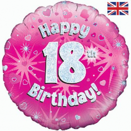Happy 18th Birthday Pink Holographic Foil Balloon