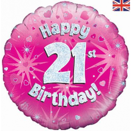 Happy 21st Birthday Pink Holographic Foil Balloon