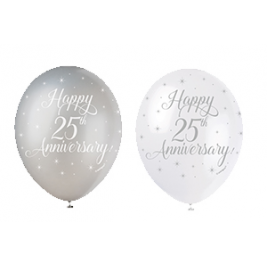 HAPPY 25TH ANNIVERSARY BALLOONS PACK OF 5