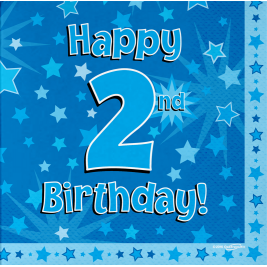 Happy 2nd Birthday Blue 33cm x 33cm 3-ply Napkins 16pcs