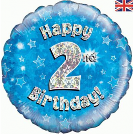 Happy 2nd Birthday Blue Holographic Foil Balloon