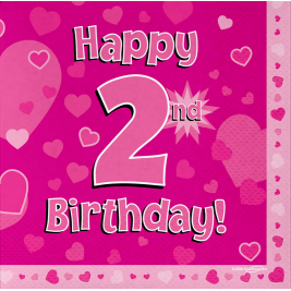 Happy 2nd Birthday Pink 33cm x 33cm 3-ply Napkins 16pcs