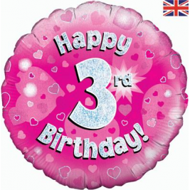 Happy 4th Birthday Pink Holographic Foil Balloon