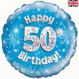 Happy 50th Birthday Blue Holographic Foil Balloon