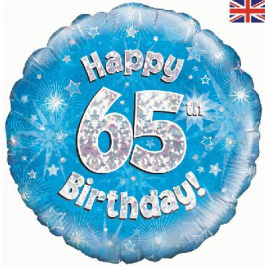 Happy 65th Birthday Blue Holographic Foil Balloon
