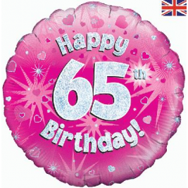Happy 65th Birthday Pink Holographic Foil Balloon