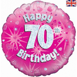 Happy 70th Birthday Pink Holographic Foil Balloon
