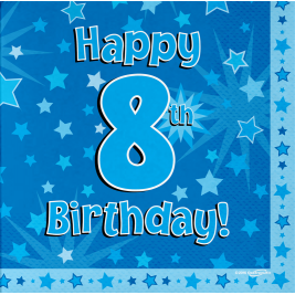 Happy 8th Birthday Blue 33cm x 33cm 3-ply Napkins 16pcs