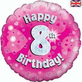 Happy 8th Birthday Pink Holographic Foil Balloon