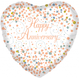 Happy Anniversary White & Rose Gold Sparkling Fizz Holographic 18