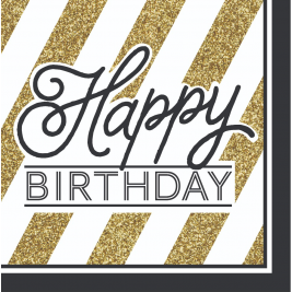 Happy Birthday Black and Gold 2 ply Lunch Napkins Pack of 16