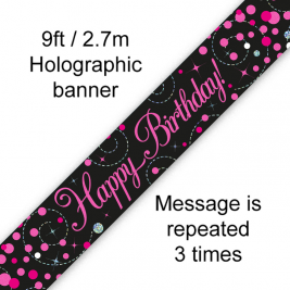 Happy Birthday Black & Pink Sparkling Fizz Holographic 9ft Banner