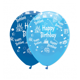 Happy Birthday Blue Latex Balloons 30cm Pack of 6