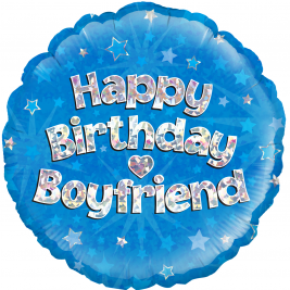Happy Birthday Boyfriend Blue Holographic 18