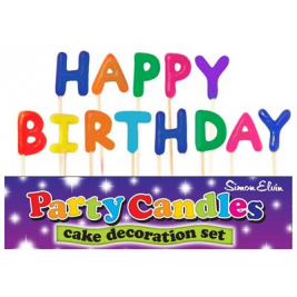 Happy Birthday Colorful Pick Candles (Sold in 6s)