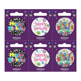 Happy Birthday Small Badges Pack of 6