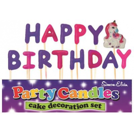 Happy Birthday Unicorn Pick Candles (Sold in 6s)