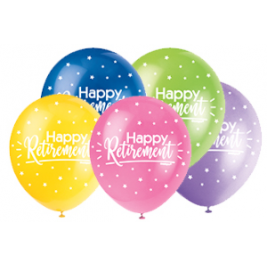 HAPPY RETIREMENT  COLOR ASSORTED BALLOONS PACK OF 5