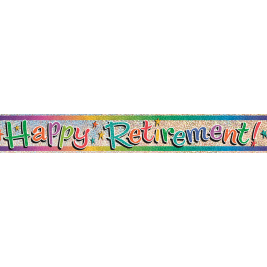 Happy Retirement Prism Foil Banner 12ft
