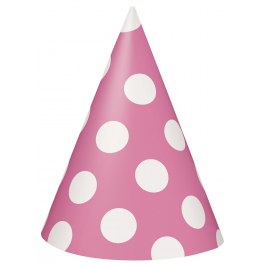 Pink Polka Dots  Party Hats  - Pack of 8