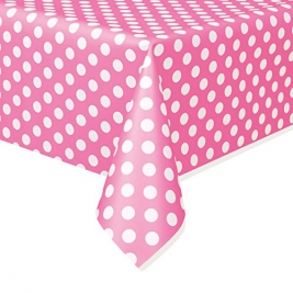 1.3 x 2.7m Polka Dot Plastic Table Cover (Pink)