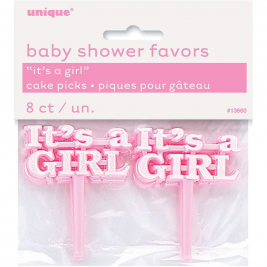 It's A Girl Pink Baby Shower Cake Picks (8pk)