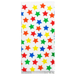 Large Stars Cello Bags with Red Ties Pack of 20